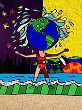 Romero Britto serigraph The Globe Generation - The Americas