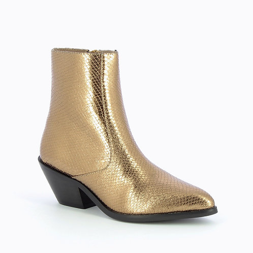 Bottines santiags bronze effet serpent