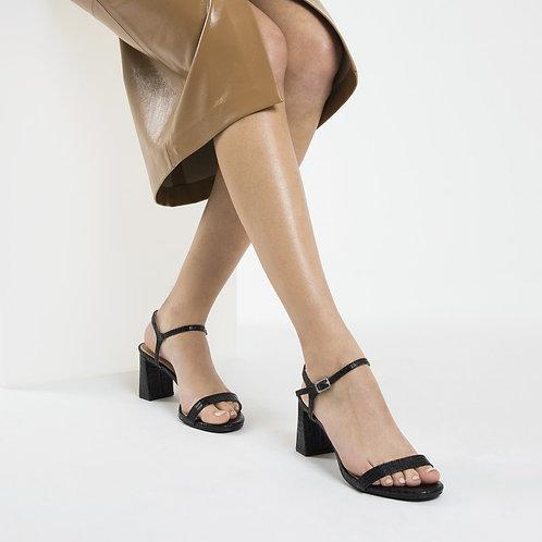 Sandales à talon noires effet croco