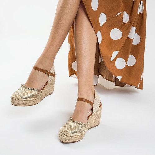 Sandales compensées à tressage or