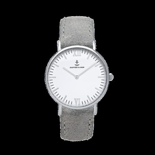 "Montre Campus Silver ""Grey Vintage Leather"""