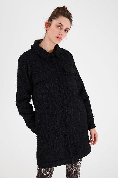 Manteau noir en tweed