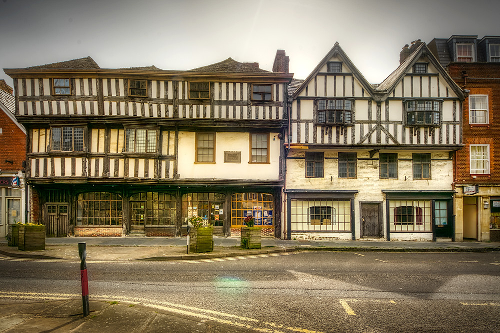 Examples of timber-framed buildings in Gloucester dating to the 15th and 17th centuries