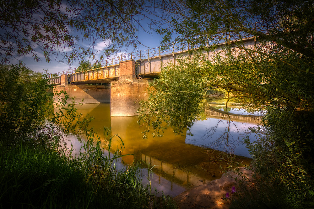 View framed by trees and grass of brick-piered steel rail bridge over the Severn and, reflected in the water, the stone span of the now-disused early-19th century stone bridge. The view is along the line of the first known bridge here, built c.1540 and demolished early 19th century.