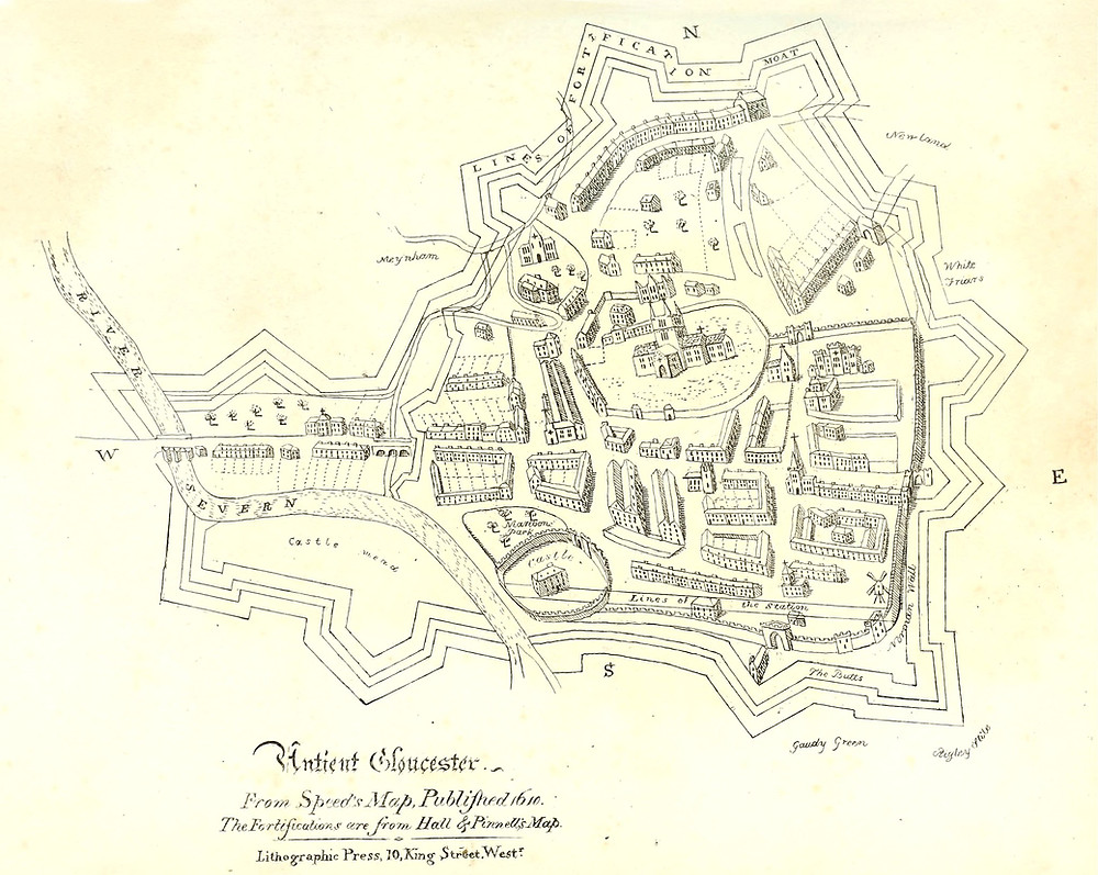 Map of Gloucester in 1610