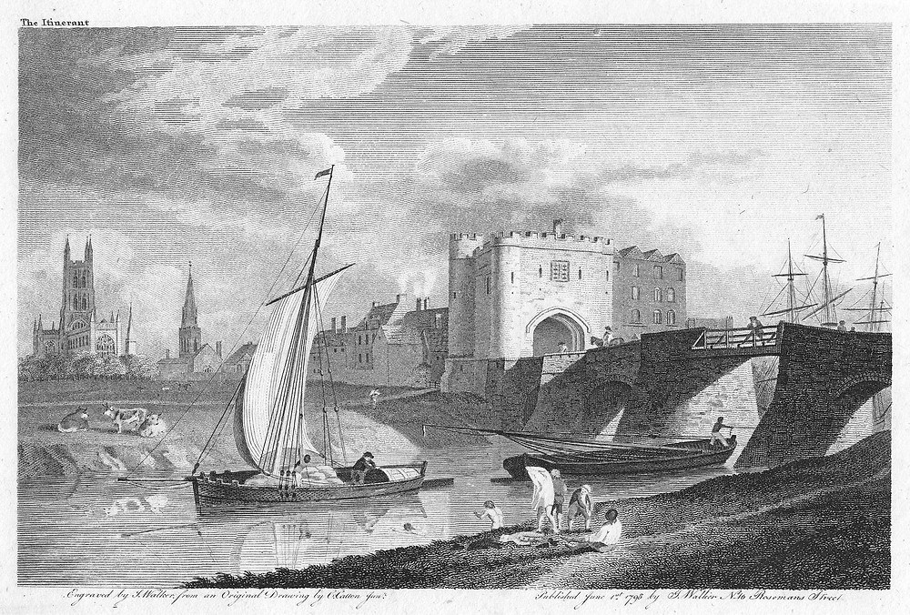 Black and white drawing of a stone bridge with three arches over a river, down which a trow sails, with the spire of St. Nicholas Church and the tower of Gloucester Cathedral in the background