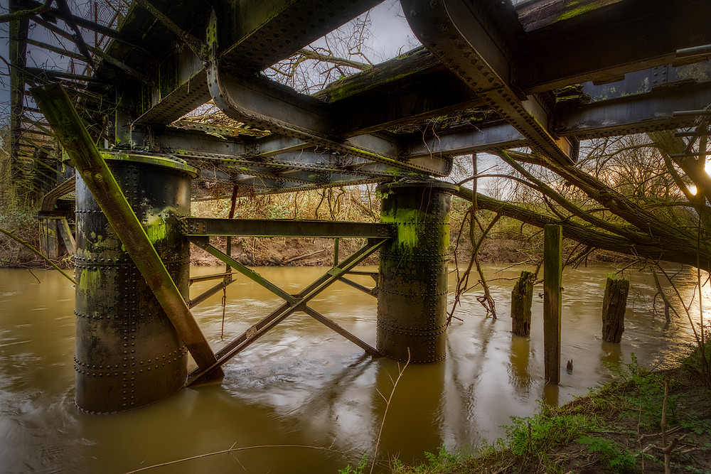 Derelict remains of the steel swing bridge over the River Severn