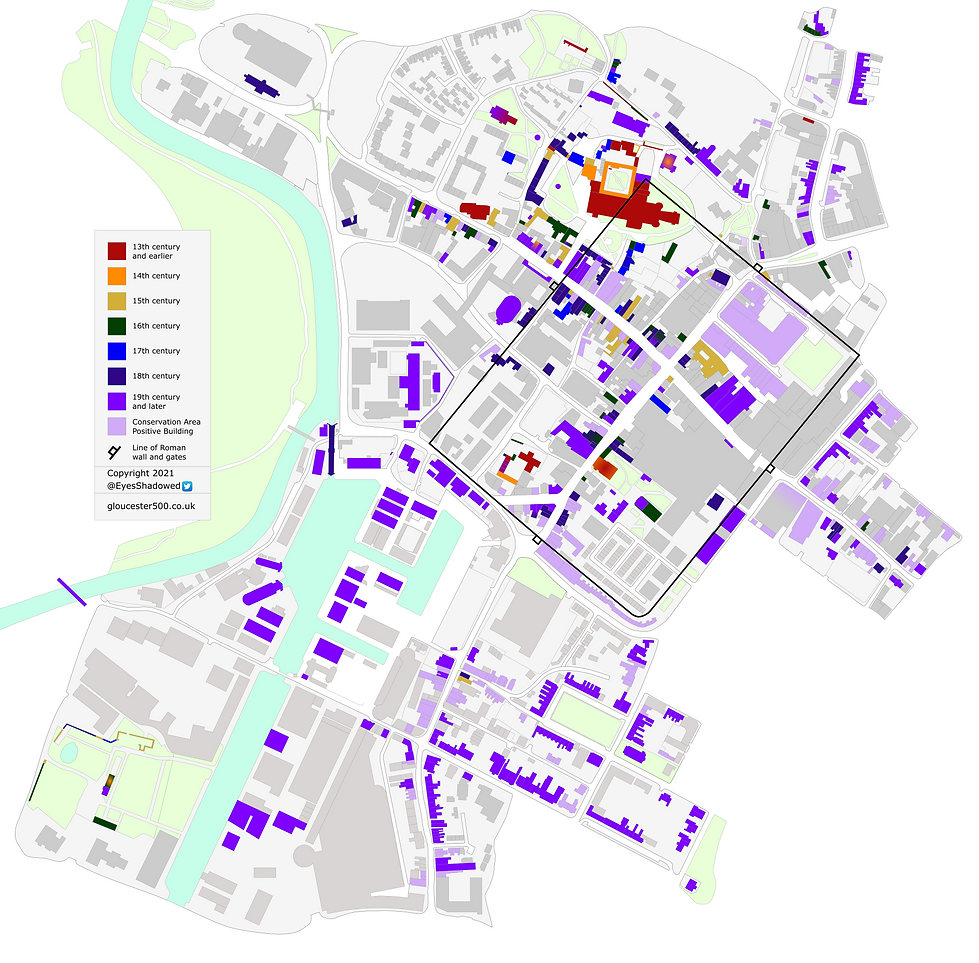 Colour-coded map of listed sites and Conservation Area 'positive' buildings in central Gloucester