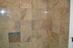 Granite tub surround and inset shelf