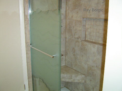 Shower seat and inset shelf