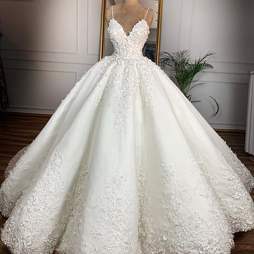 3D Flower  v Neck Spaghetti Strap Bridal Gown