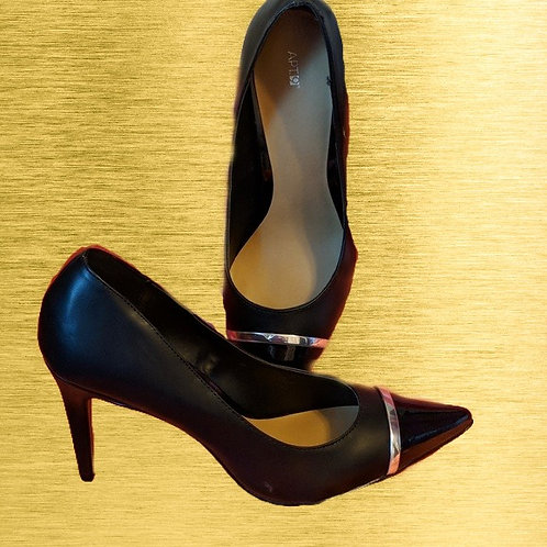 Black leather heels 4 inch with gold strap on toe