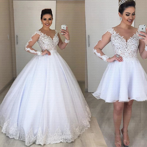 Detachable Skirt  With Long Sleeve 2 in 1 Wedding Dress
