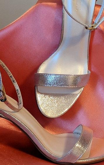 Davids Bridal ankle strap gold sandals 3 inch heel I'm a product