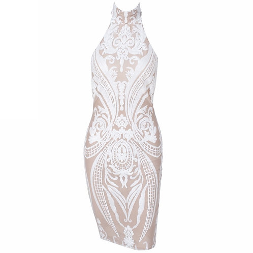 White Sequin Nude Party Dress
