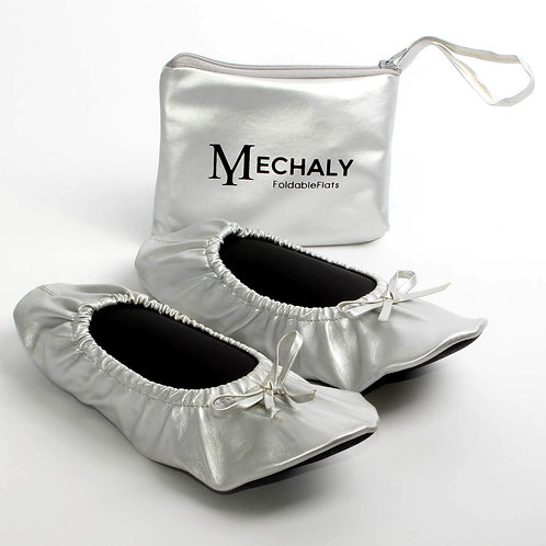Mechaly Women's Vegan Leather Foldable Flats Silver