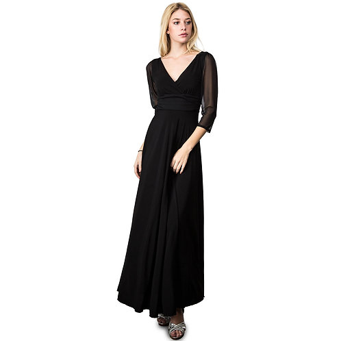Evanese Women's Plus Size Evening Party Formal Long Dress Gown With 3/4 Sleeves
