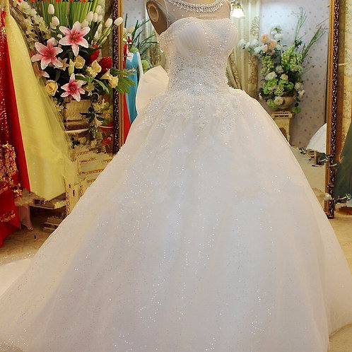 Crystal Beaded Sequins Tulle Lace Fluffy Romantic Wedding Dress