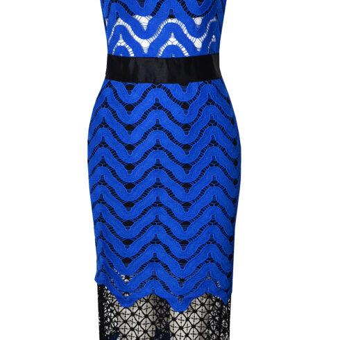 Blue High Collar Day Dress