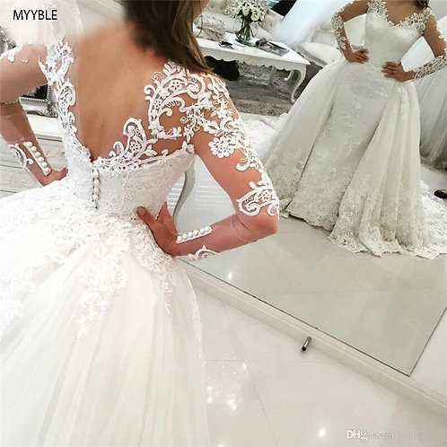 Lace Long Sleeve Mermaid Wedding Dress With Detachable Skirt Backless