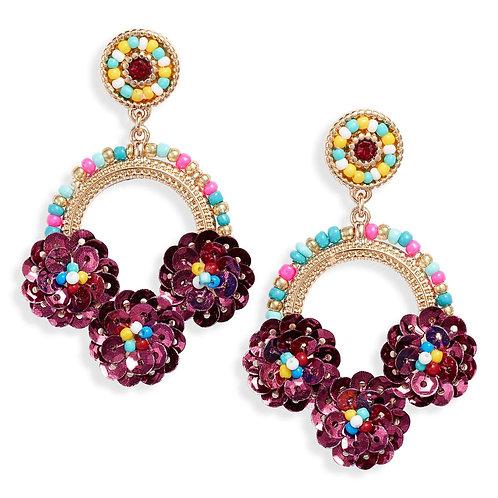 Beaded Floral Drop Earrings