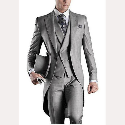 Suit Tailcoats Light Grey Suits Wedding Tuxedo ( Jacket+Pants+Vest)
