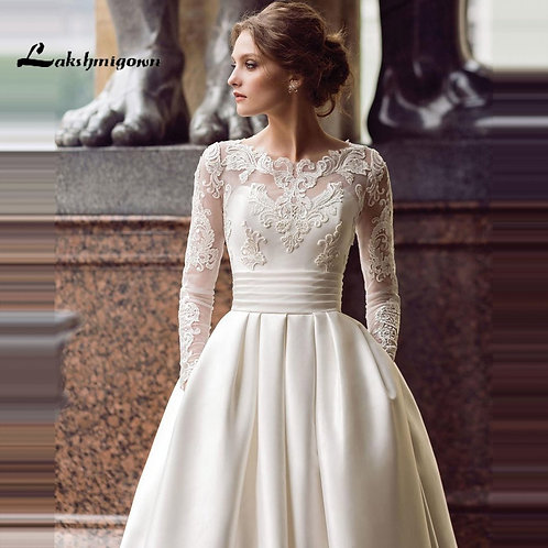 Modest Long Sleeve Wedding Dresses Scoop Satin  A-Line Bridal Gown With Pockets