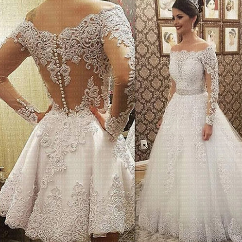 Boat Neck Long Sleeves 2 in 1 Wedding Dress