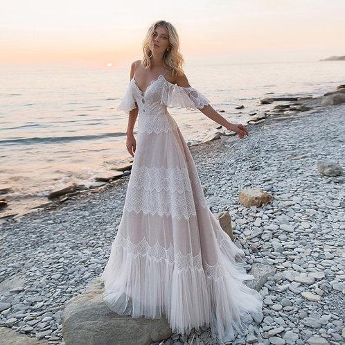 Spaghetti Straps Beach Wedding Dress Nude Champagne