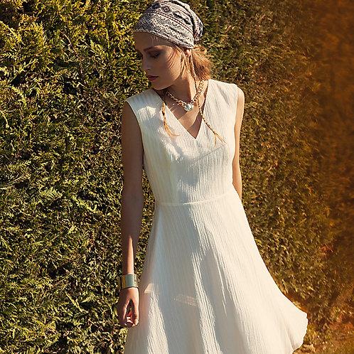 Silk Modal White Open Back Dress