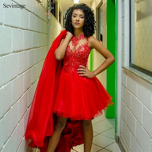 Red Two Piece Organza Prom Dress Lace Appliques Beaded Removable Skirt