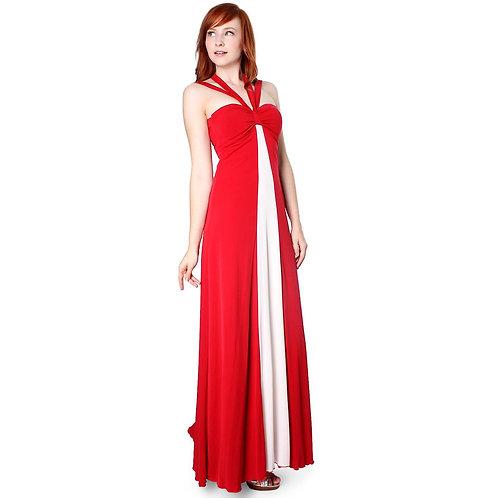 Evanese Women's Elegant Cross Tie Halter Long Formal Party Dress With Contrast