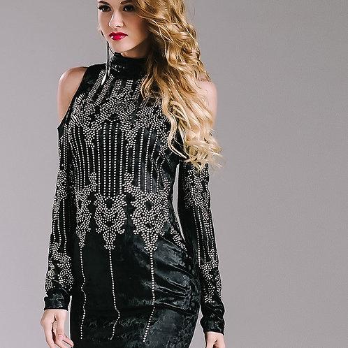 Black Geometric Studded Dress