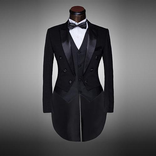 Black&White Wedding SuitTailcoat 4pieces Blazer(Jacket+Pants+Belt+Tie)