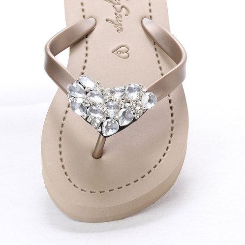 Chelsea Heart (Crystal) - Women's Flat Sandal