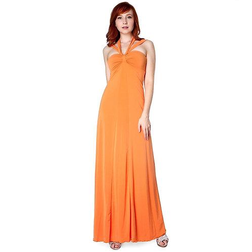 Elegant Cross Tie Halter Long Formal Party Dress