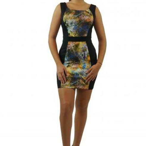 Rosaura Sias Pipenburg - Splash Black Cocktail Dress With Splash Color Print