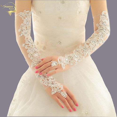 Long Opera Length Wedding Gloves for Bride Fingerless Crystal Bling
