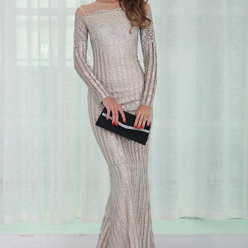 Off Shoulder Silver Glitter Gown