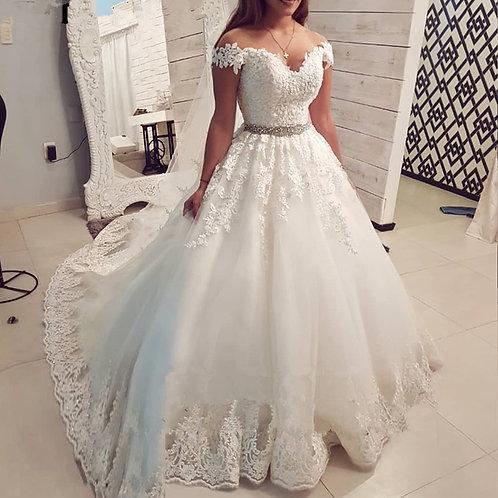 Off Shoulder Vintage Lace Wedding Dress