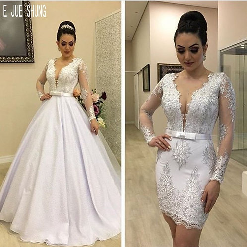 2 in 1 Wedding Dresses  Sheer v Neck Long Sleeves Lace Appliques