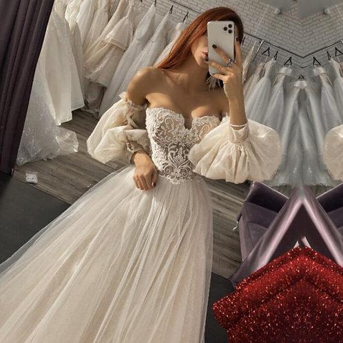 Boho Wedding Dress A-Line Puffy Sleeves Wedding Gown