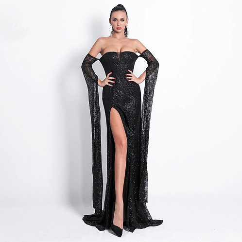 High Slit Black Gown