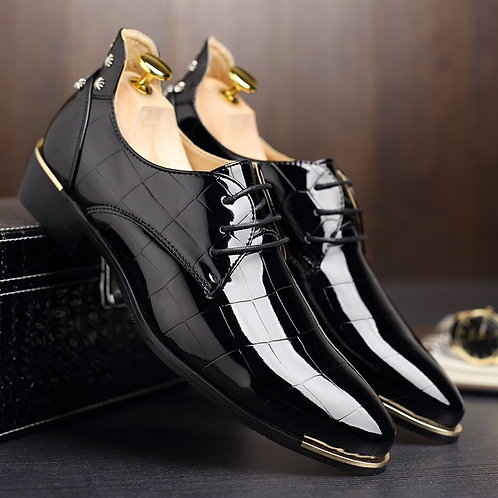 Patent Leather Pointed Toe  Wedding Shoes for Men