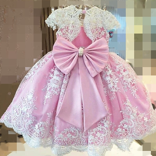 Princess Pearls Appliques Pink Flower Girl Dress O-Neck