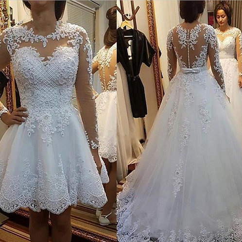 Detachable Train Lace Appliques Pearls Bridal Gown\