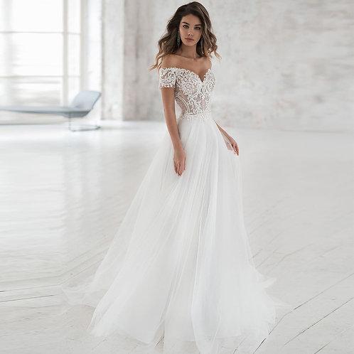 Elegant Off-Shoulder Soft Tulle A-Line Lace Bridal Gown