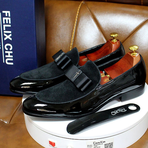 Patent Leather and Nubuck Leather Patchwork With Bow Tie Shoes