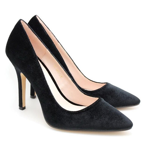 Pointed Toe Velvet High Heel (Black)