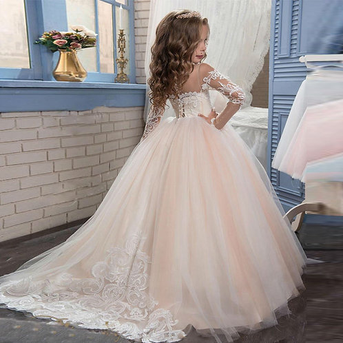 Lace Flower Girl Dress  Long Sleeves Gown